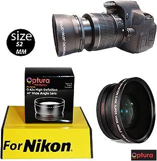 OPTURA HD Photo Wide Angle + Macro Lens for for Nikon D3200 D3000 D5300 D5000 D5200 D3300 D90 D80 D40 D40X D70+ OPTURA HD Micro Fiber Cloth