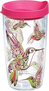 Tervis Hummingbirds Wrap 16oz Tumbler with Fuchsia Lid, Clear -