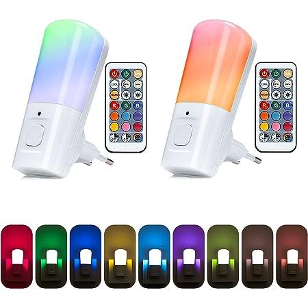 Yafido 2 Pack Veilleuse Enfant Prise Electrique, Lampe Enfant Nuit Télécommande 9 Couleurs Réglables RGB Luminosité, Dimmable Veilleuse Bébé avec Fonction de Mémoire et Minuterie