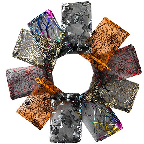 Sklepee Organza Bags, 100Pcs Print Silk Organza Drawstring Bags, Organza Gift Bag Party Favour Bags Organza Candy Bags Mesh Drawstring Gift Bags for Christmas Birthday