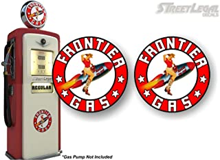 2 Vintage Frontier Gasoline Pin-up Girl Rocket Rarin' to Go! Gas Pump 4