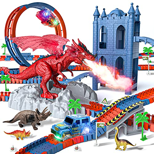 Dinosaur Toys Race Track with 2 Race Cars, 230 Piece Flexible Train Tracks with 9 Assorted Dinosaur and Castle, Create A Dinosaur World Road, Best Gift for 3 4 5 6 Years Old Toddlers Boys and Girls