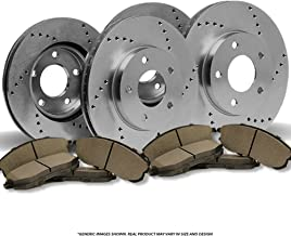 (Front+Rear Kit)4 OE SPEC Cross Drilled Brake Rotors & 8 SemiMet Pads(5lug)