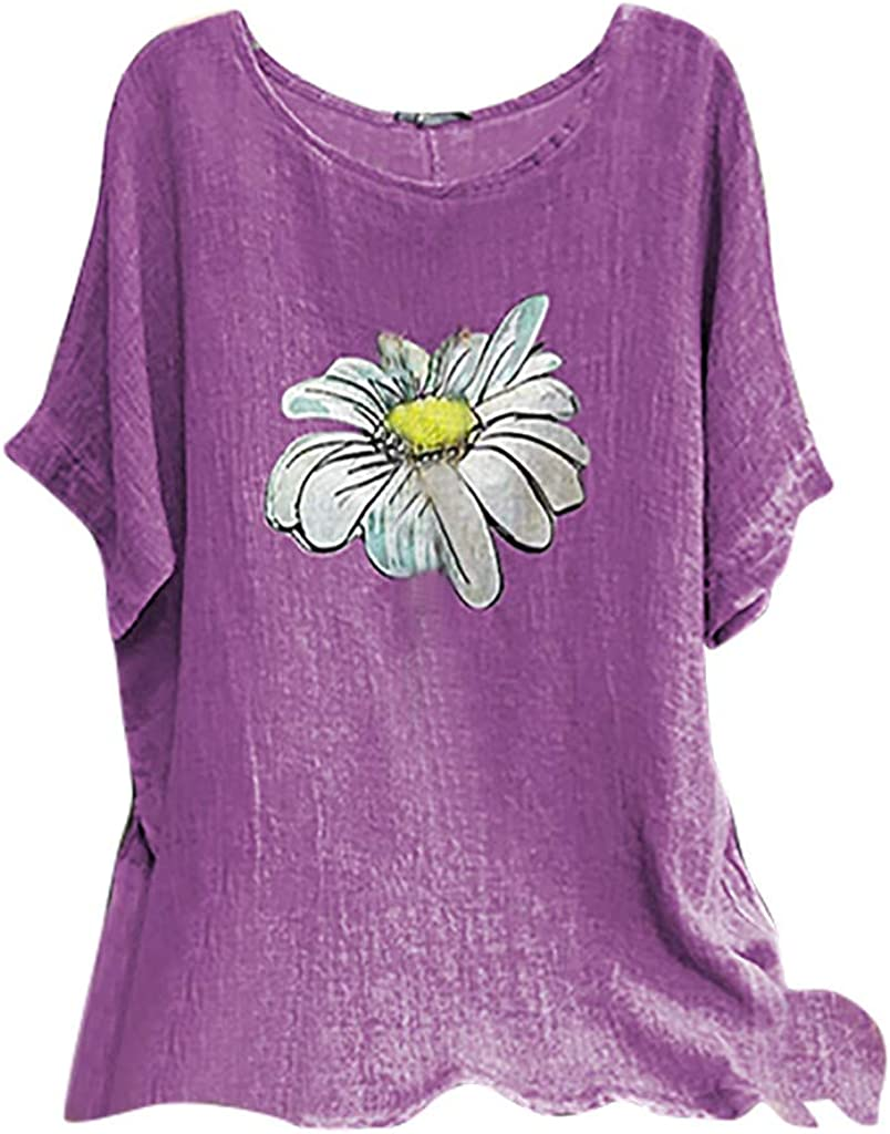 aihihe Plus Size Tops for Women Short Sleeve Summer Casual Vintage Floral Print T Shirts Cotton Linen Tunic Blouses