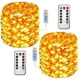 Aluan Fairy Lights 2 Pack 33FT 100 LED Christmas Lights with Remote Control & Timer Waterproof 8 Mode Adjustable Copper Wire String Lights for Party Wedding Patio Indoor Outdoor Decoration, Warm White