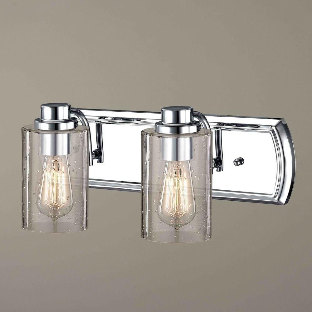Industrial Seeded サービス Glass 訳あり商品 Bathroom Chrome 2 Light Lt
