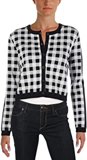 Juicy Couture Black Label Womens Gingham Jacquard Cardigan Sweater