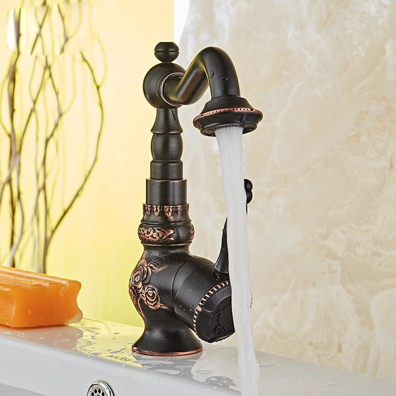 All-Kupfer europischen Schwarzen rotierenden Wasserhahn Vintage Geschnitzt Waschbecken heien und Kalten Wasserhahn