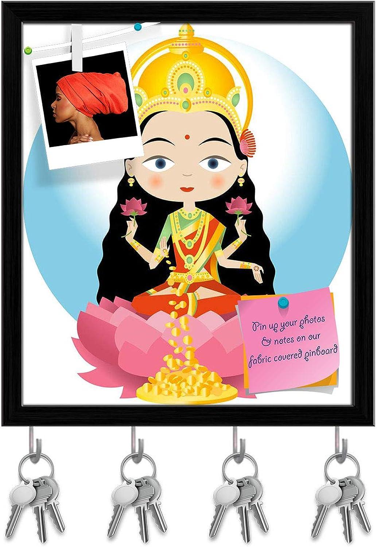 Artzfolio Hindu God Lakshmi Key Holder Hooks   Notice Pin Board   Black Frame 16 X 18.4Inch