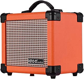 Festnight Watt Portable Desktop Electric Guitar Speaker Amplifier with Two Adjustable Channels Combo Amp Orange UK Plug MA...