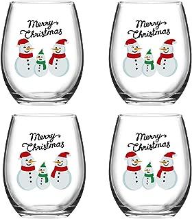Merry Christmas Snowmen Stemless Wine Glass Set, 15 Oz Funny Stemless Wine Glasses for Women Friends Men, Gift Idea for Christmas Wedding Party, Set of 4