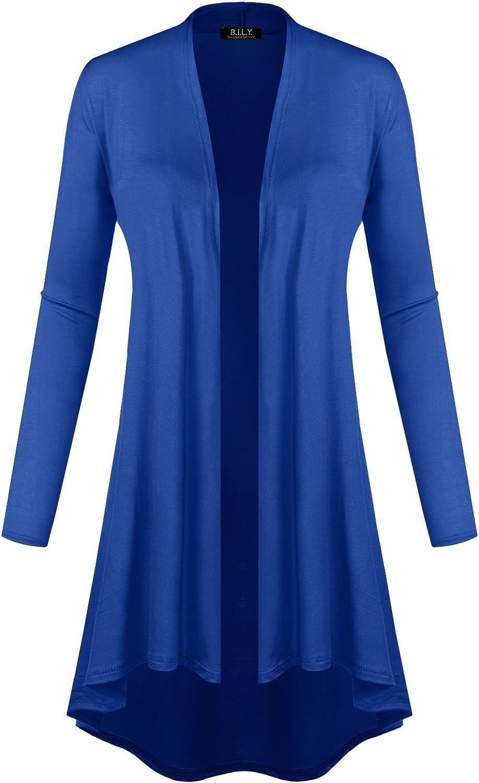 BILY Women's Open Front Lightweight Jersey Classic Long Sleeve Cardigan bluee XXXLarge