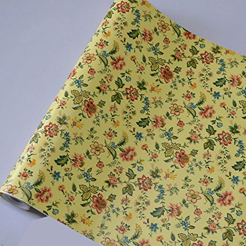 GLOW4U Autocollant en vinyle Motif floral vintage Jaune 45 cm x 2 m