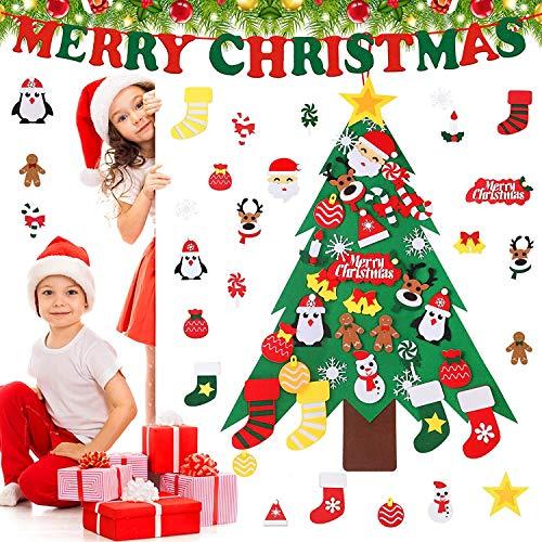 Joyhoop arbol de Navidad en Fieltro, 3ft árbol de Navidad de Fieltro con 32pcs Árbol de Navidad para Niños Juguetes Educativos Decoración de Pared, Decoraciones para el Hogar de Navidad