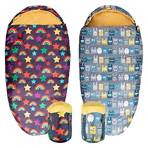 Silentnight Kids Rainbows Mummy Style Sleeping Bag - Boys Girls Children Toddler Spring Summer Holiday Sleep Bags - Machine Washable Junior Camping Essentials