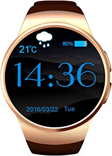 Inteligentes Android reloj mujer – Smartwatch Android teléfono inteligente – inteligentes Tarjeta SIM Classic mujer – Smart Watch Android Men Porter Fitness – oro, 128 + 64 MB zx-kw18 equipé de