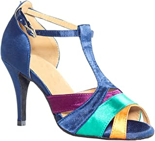 Women's Stiletto High Heel T-Strap Satin Salsa Tango Ballroom Latin Dance Shoes