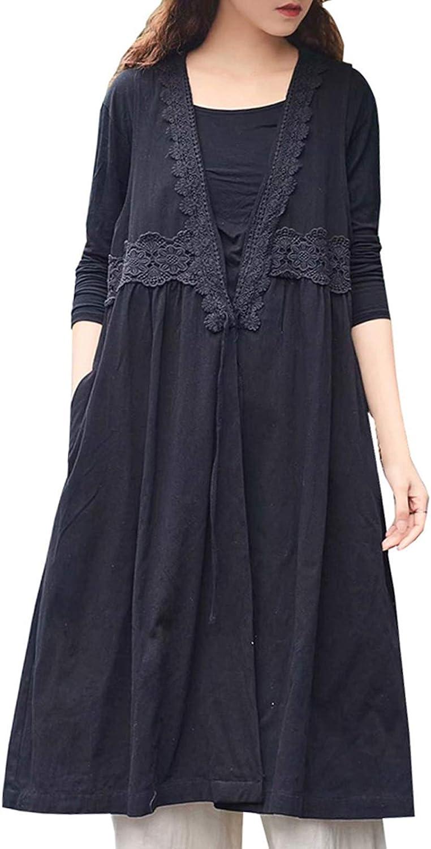 Les umes Womens Cotton Shawl Collar Maternity Plus Size Sleeveless Coat Vest