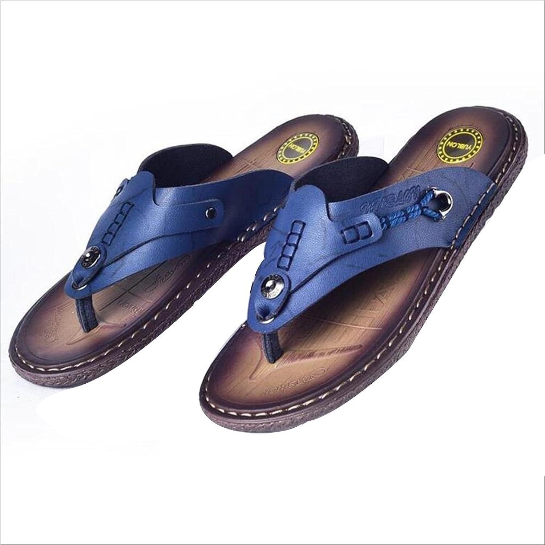 QIDI Sandals TPR Microfiber Summer Wear-resistant bluee Dark Brown Light Brown Beach shoes (color   bluee, Size   EU39 UK6)