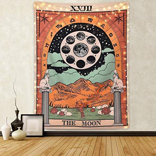 Amknn – Tarot-Wandteppich / Tapisserie / Wandbehang, Motiv: Tarotkarte, Mond, Stern, Sonne, europäischer Mittelalter-Stil, Wahrsagerei, Wandteppich Mond, 150cmx130cm