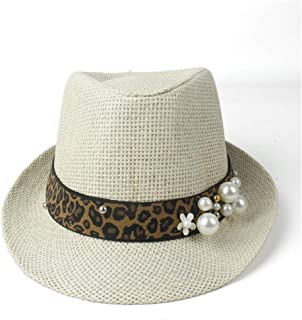 PengCheng Pang Summer Women Straw Beach Sun Hat Elegant Lady Travel Summer Fedora Pearl Panama Sunbonnet Sunhat Size 57CM (Color : Tan, Size : 57CM)