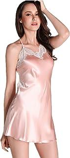 maggiesee Women Sexy Lace Lingerie Nightdress Spaghetti Strap Backless Nightgowns Comfortable Satin Sleep Dress Pajamas (Pink, M)