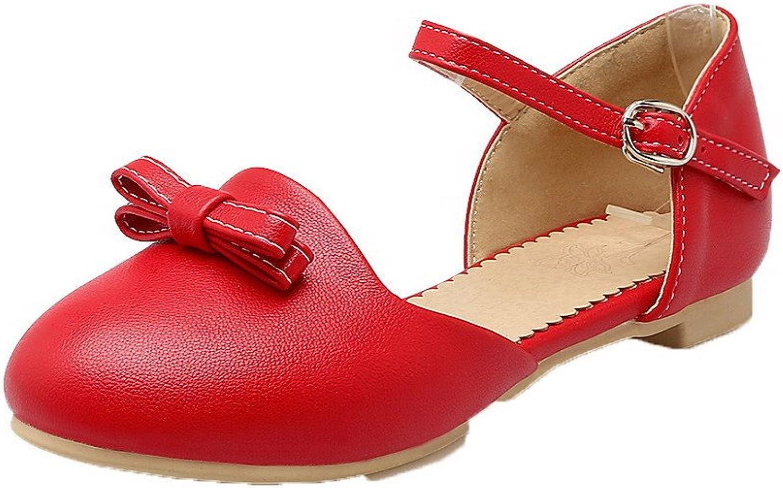 AmoonyFashion Women's Solid PU Low-Heels Buckle Round-Toe Sandals, BUSLS005356