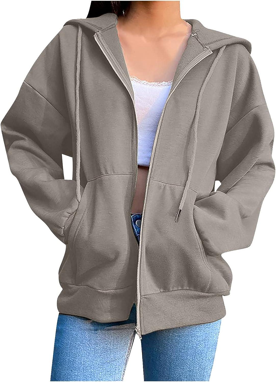 Women's Zip Up Long Sleeves Hoodie Casual Solid Color Sweatshirt with Pockets Hoodies for Women Sweatshirts Pullover