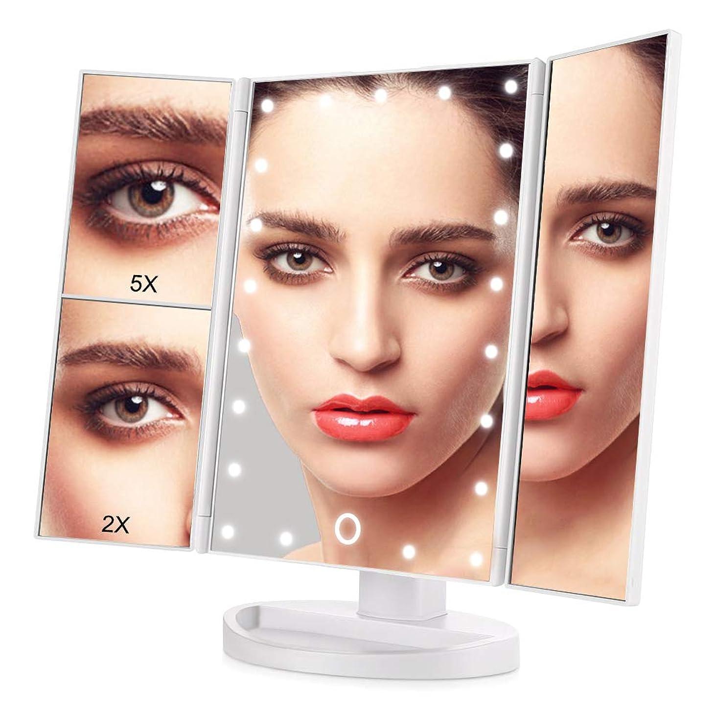 分割認知純度OKISS 三面鏡 化粧鏡 卓上 ミラー 鏡 ledライト 化粧ミラー メイクアップミラー 2倍と5倍拡大鏡付き 明るさ調節可能 折り畳み式 180°回転 USB/単4電池給電