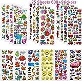 Willingood 3D Sticker Aufkleber Set für Kinder Mädchen 25 Verschiedene Blätter 600+ Geschwollen Stickers mit Dinosaur, Cars, Parteibevorzugungen, Mitgebsel Kindergeburtstag und...