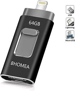 BHOMEA iPhone USB メモリ 64GB フラッシュドライブ 人気 OTGメモリー スライド式 3in1 iOS iPhone/PC/Android/パソコン対応 iPhone iPad iPod touchの容量不足解消 パスワード保護 高速データ転送 日本語取扱説明書付き