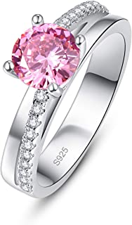PAKULA 925 Sterling Silver Pear Cut Simulated Mystic Rainbow Topaz CZ Halo Wedding Ring for Women