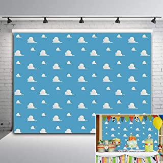 Blue Sky White Cloud Step and Repeat Photography Backdrop Newborn Baby Shower Cartoon Toy Story Party Decorations Photo Background Studio Props Vinyl 5x3ft Boy Girls Birthday Banner Cake Table Decor