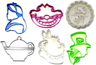 ALICE IN WONDERLAND TEA POT WHITE RABBIT MAD HATTER CHESHIRE CAT EAT ME DESSERT TREAT TEAPOT SET OF 6 SPECIAL OCCASION COOKIE CUTTER BAKING TOOL 3D PRINTED MADE IN USA PR1266