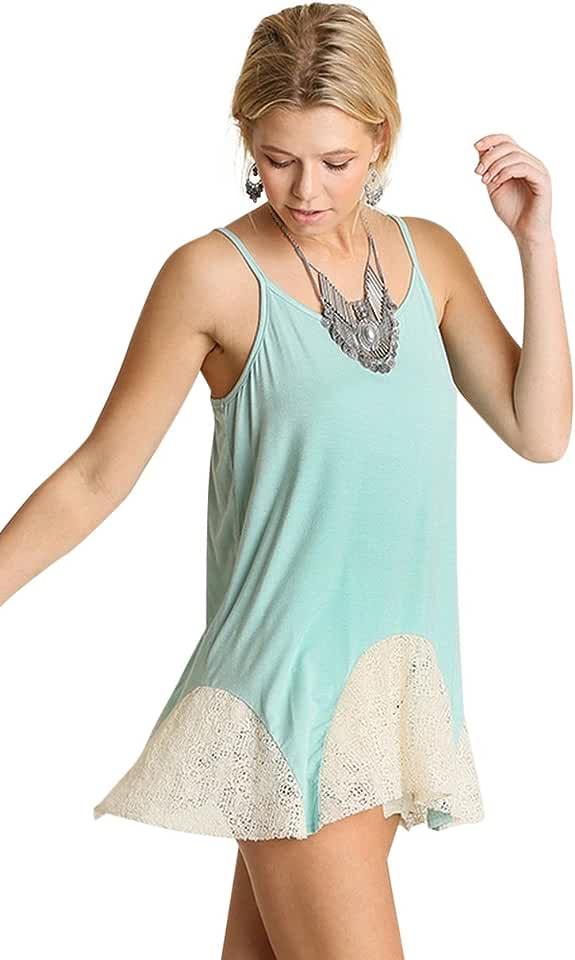 Umgee Women's Lace Flared Layering Tunic Tank Top