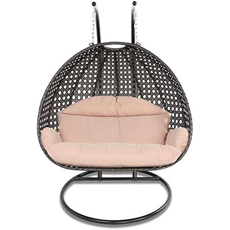150kg Capacity White Double Nitaar Rattan Single Double Hanging Egg Swing Chair+Stand+Cushion