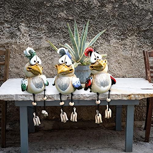Huhn Deko Garten Keramik, Huhn Gartendeko, Deko Hühner Figuren Garten Huhn Gartenstecker Tiere Garten Dekoration Figuren für Außen, Harz Statue Bauernhof Balkon Wohnzimmer Office Deko (3 Hühner)