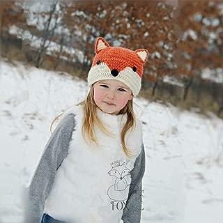 Edary Kids Fox Beanie Hat Warm Animal Knitted Cap Coif Hood Scarf for Winter Autumn(Orange)
