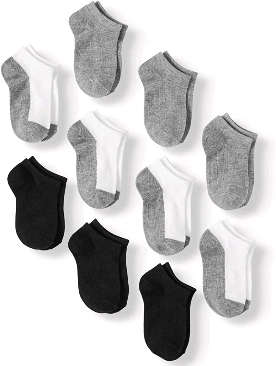 Boys Assorted 10 Pack No Show Socks