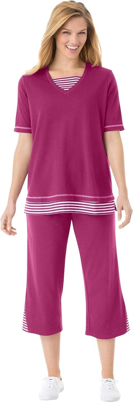 Woman Within Women's Plus Size Striped Inset & Capri Set Pants