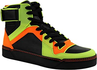 Mens Sneakers Neon Leather Logo High Top Basketball