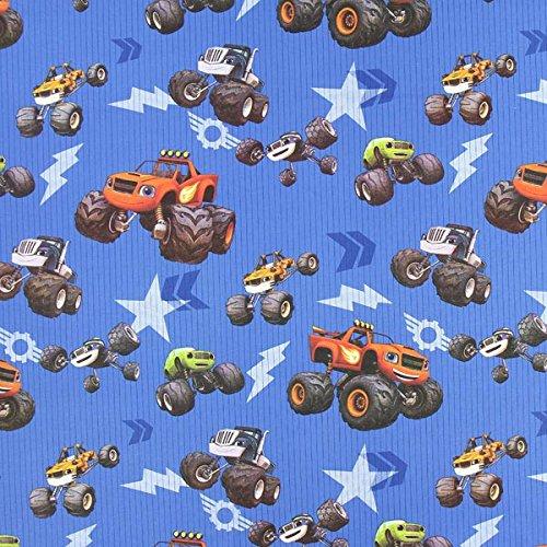 Fabulous Fabrics Cretonne Monster Cars – blau — Meterware ab 0,5m — zum Nähen von Kissen/Tagesdecken, Tischdekoration und Vorhänge