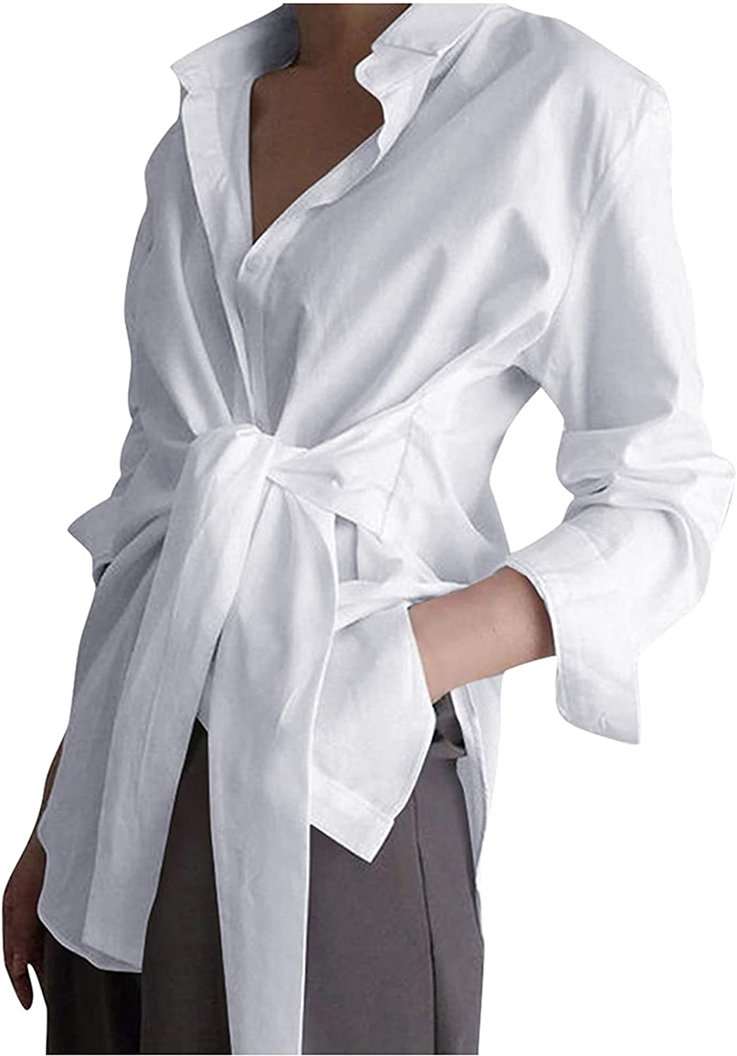 Womens Long Sleeve V Neck Tie Waist Wrap Shirts Casual Button Down Tunic Tops and Blouses Elegant Side Split Tees
