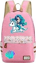 Mermaid Backpack Flowers Canvas bag Girls School Cartoon Mermaid Princess Unicorn (Style 4)