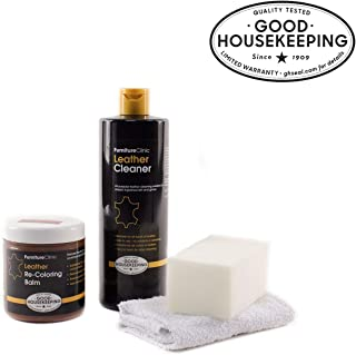 Furniture Clinic Leather Easy Restoration Kit | Set Includes Leather Recoloring Balm & Leather Cleaner, Sponge & Cloth | Restore & Repair Your Sofas, Car Seats & Other Leather Furniture (Ivory)