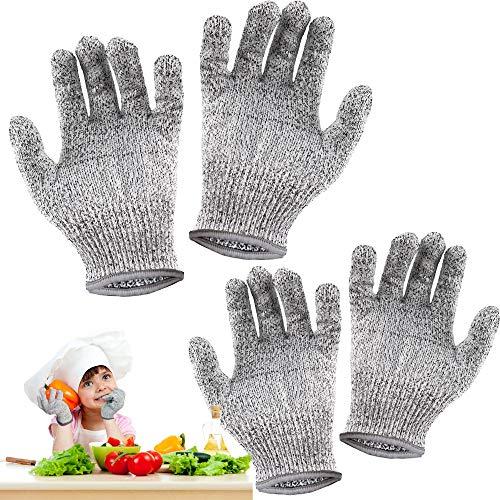 2Paar Schnittsichere Handschuhe für Kinder, Schnitzhandschuhe Kinder, Leistungsfähiger Level 5 Schutz, Küchen Handschuhe Lebensmittelkontaktqualität (XXS and XS)