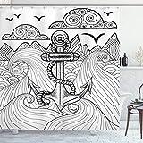 ABAKUHAUS Anker Duschvorhang, Zentangle Ozean Wolken, Wasser Blickdicht inkl.12 Ringe Langhaltig Bakterie & Schimmel Resistent, 175 x 200 cm, Schwarz-weiß