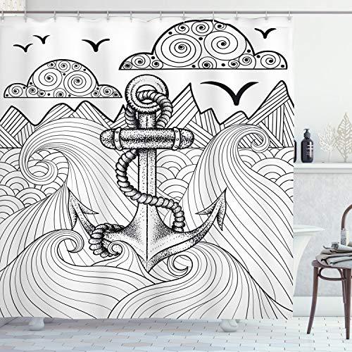 ABAKUHAUS Anker Duschvorhang, Zentangle Ozean Wolken, Wasser Blickdicht inkl.12 Ringe Langhaltig Bakterie und Schimmel Resistent, 175 x 180 cm, Schwarz-weiß