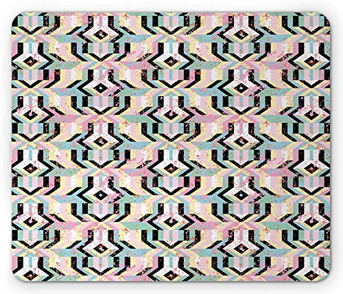 Art Mouse Pad, Grunge-Muster aus kräftigen, farbenfrohen, gestreiften, überlappenden, mutigen Elementen, rechteckiges, rutschfestes Gummi-Mauspad, Standardgröße, mehrfarbig
