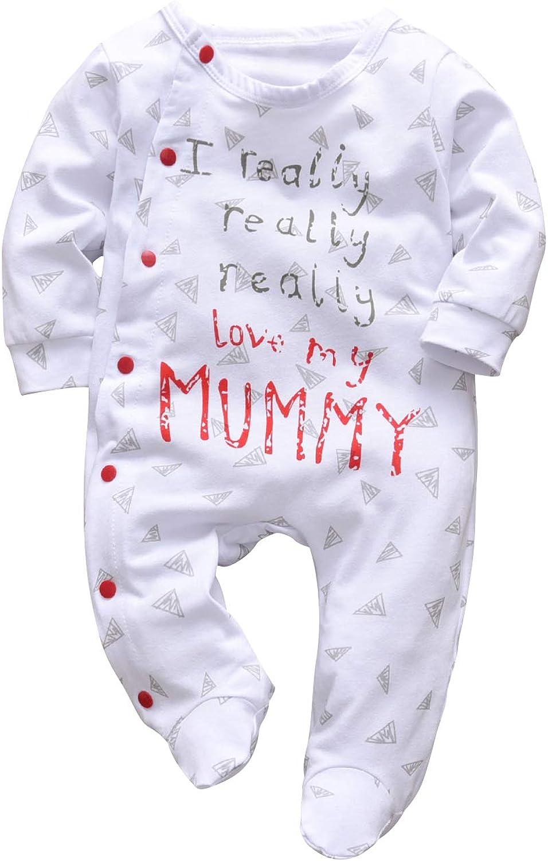 KuKitty Baby Boys Girls Romper Letter Print Jumpsuit